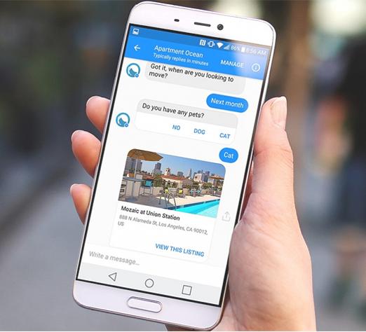 Chatboten fra Apartment Ocean kan for eksempel drive enkel førstelinje kundeprat. (Kilde: Apartmentocean.com)